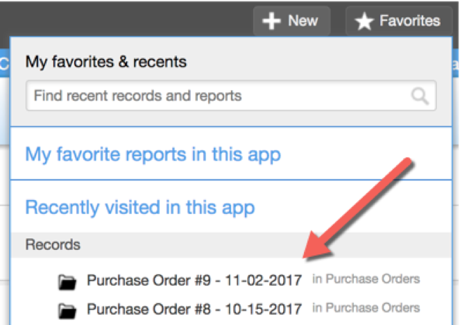 Quick Base keeps track of your recent reports and records