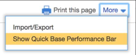 Show Quick Base Performance Bar
